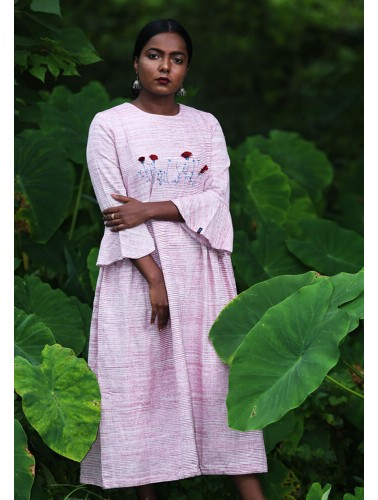 Pink Bell sleeve Embroidered Dress
