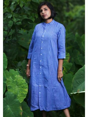 Princess Cut A-Line Blue Stripes Dress