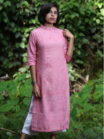 Pink Collar Neck Kurti