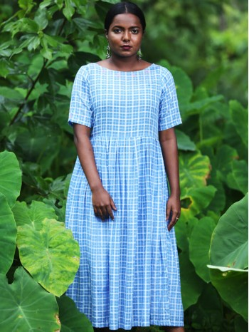 Blue Check Voil Dress