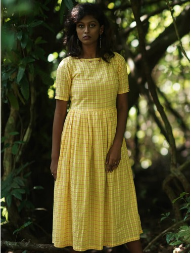 Yellow Check Voil Dress