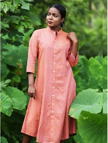 A-Line Princess Cut Peach Dress