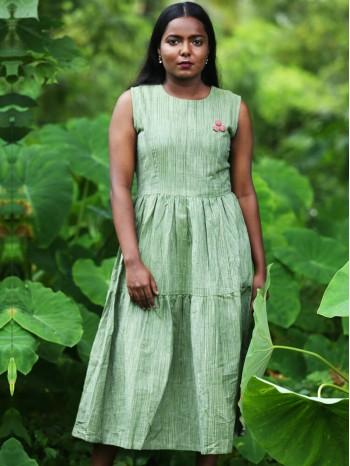 Tiered Green Khadi Dress