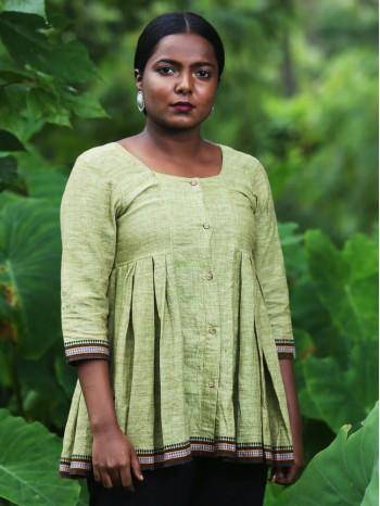 Kuppadam Side Pleated Green Khadi Tunic