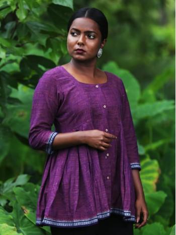 Side Pleated Purple Khadi Tunic