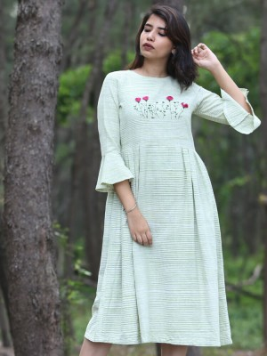 Bell Sleeve Hand Embroidered Green Dress