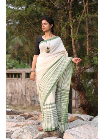 Pistachio Stripe Saree