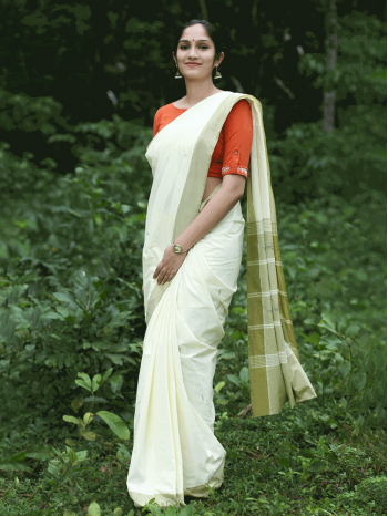 Off White Saree With Green Border