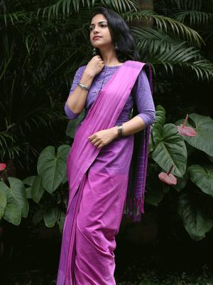 Pink Triple Shaded Check Saree
