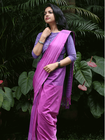 Pink Triple Shaded Check Saree