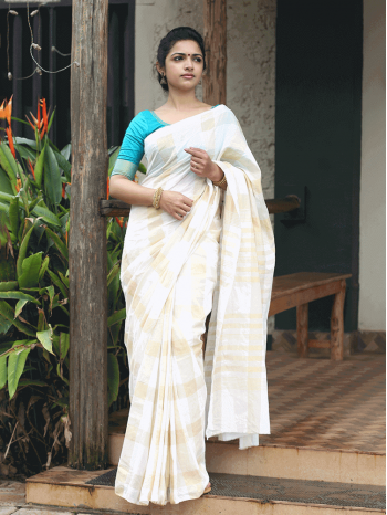 Cotton Check Saree With Zari