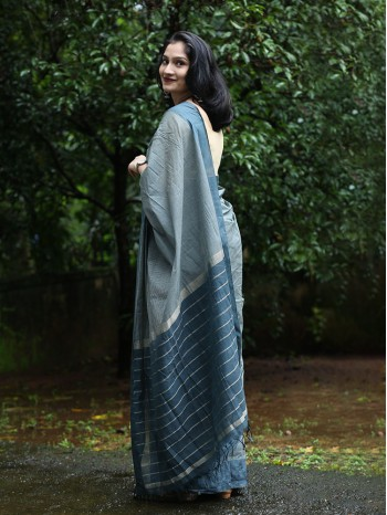 Green Check Handloom Saree